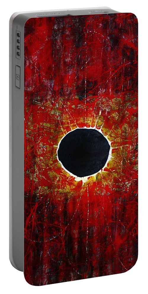 Abstract Portable Battery Charger featuring the painting A Long Time Coming by Michael Cross
