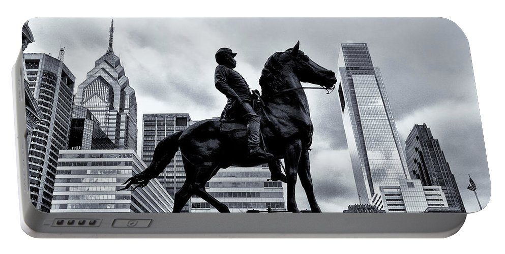 Man Portable Battery Charger featuring the photograph A Man A Horse And A City by Bill Cannon