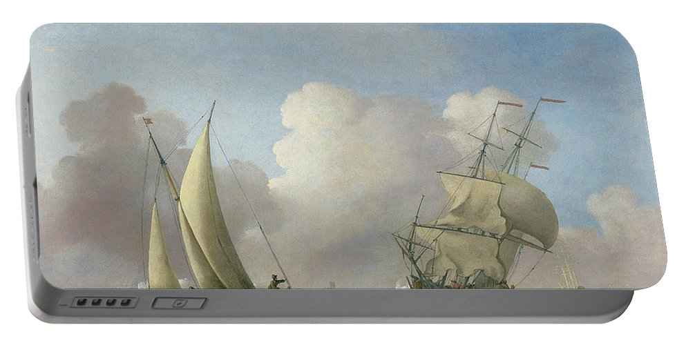 Ship; Ships; Ocean; Sea; Clouds; Waves Portable Battery Charger featuring the painting A Man-o'-war In A Swell And A Sailing Boat by Peter Monamy