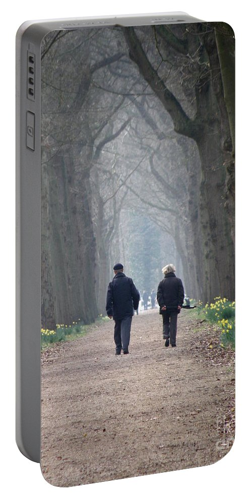 Forest Portable Battery Charger featuring the photograph A Peaceful Stroll by Lainie Wrightson