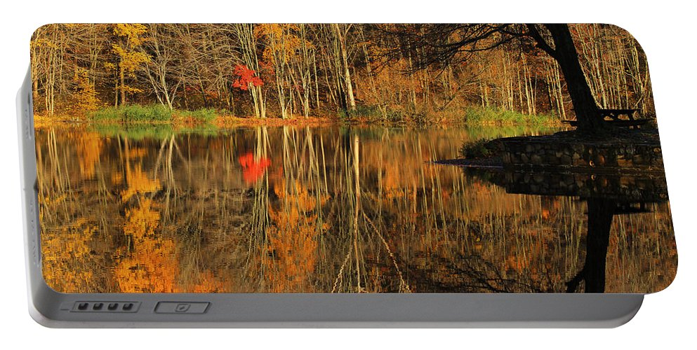 Autumn Portable Battery Charger featuring the photograph A Reflection Of October by Karol Livote