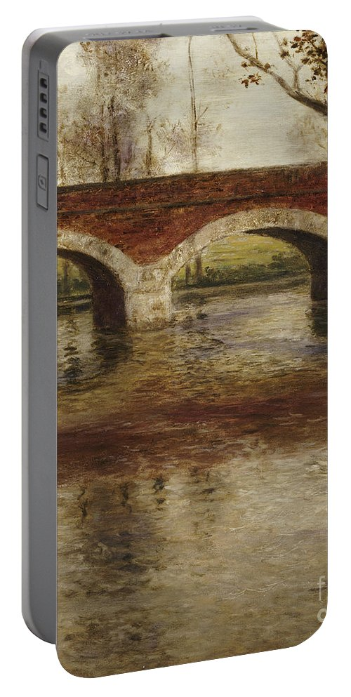 River Portable Battery Charger featuring the painting A River Landscape With A Bridge by Fritz Thaulow