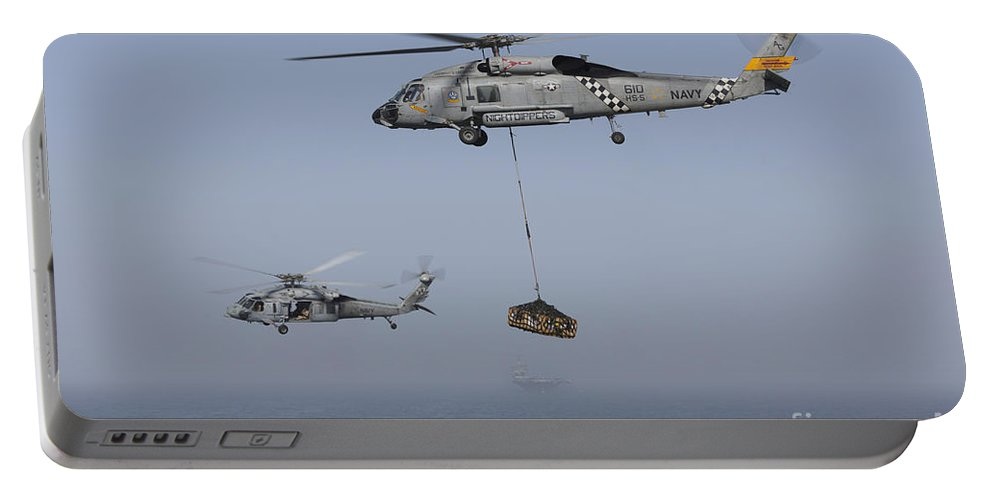 Arabian Sea Portable Battery Charger featuring the photograph A Sh-60j Seahawk And A Mh-60s by Gert Kromhout