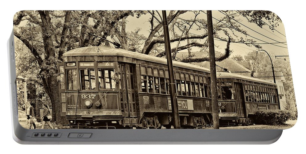 New Orleans Portable Battery Charger featuring the photograph A Streetcar Named St. Charles Sepia by Steve Harrington