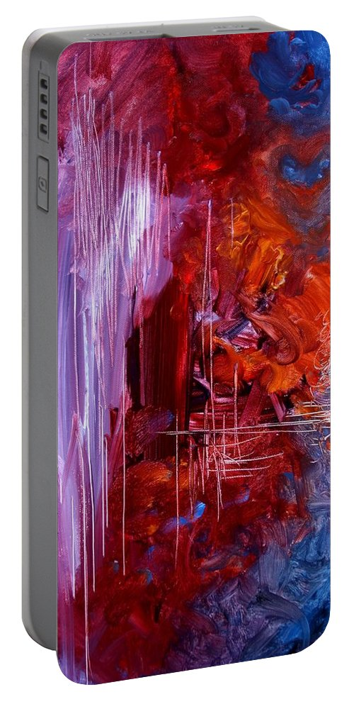 Abstract Portable Battery Charger featuring the painting A Teacher's Sadness by J Vincent Scarpace