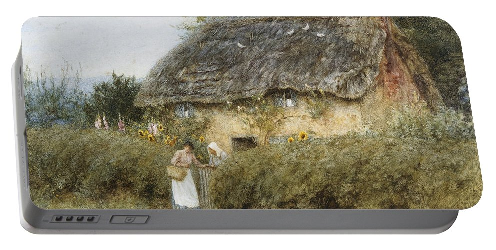 A Thatched Cottage Near Peaslake Portable Battery Charger featuring the painting A Thatched Cottage Near Peaslake Surrey by Helen Allingham