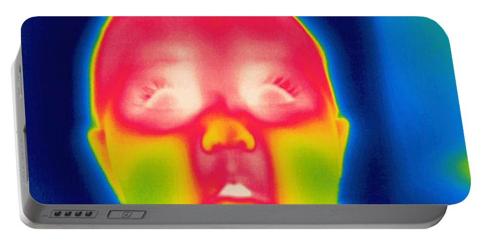 Thermogram Portable Battery Charger featuring the photograph A Thermogram Of A 5 Month Old Baby by Ted Kinsman