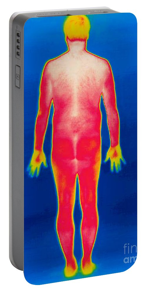Thermogram Portable Battery Charger featuring the photograph A Thermogram Of A Nude Man Back by Ted Kinsman