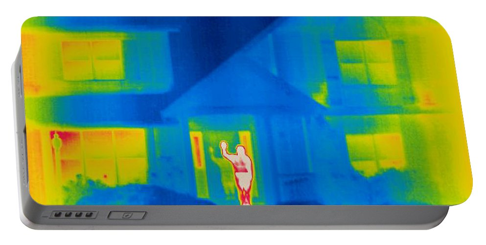 Thermogram Portable Battery Charger featuring the photograph A Thermogram Of A Person Waving In House by Ted Kinsman