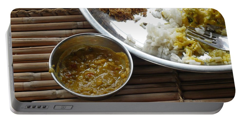 Food Portable Battery Charger featuring the photograph A Typical Plate Of Indian Rajasthani Food On A Bamboo Table by Ashish Agarwal