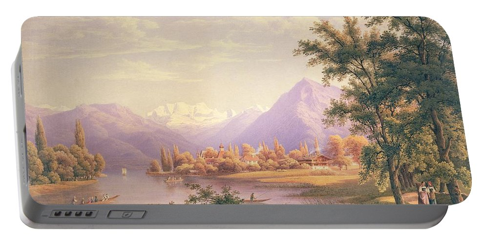 Swiss Landscape; Thunersee; Alps; Mountains; Alpine Portable Battery Charger featuring the painting A View Of Scherzingen On The Lake Of Thun by Jakob Suter