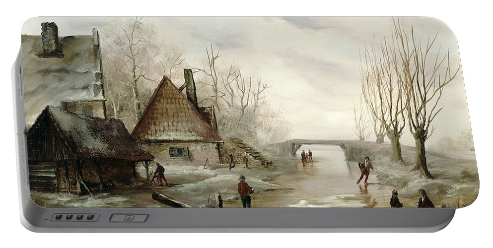 A Winter Landscape With Figures Skating In The Foreground Portable Battery Charger featuring the painting A Winter Landscape With Figures Skating by Dutch School