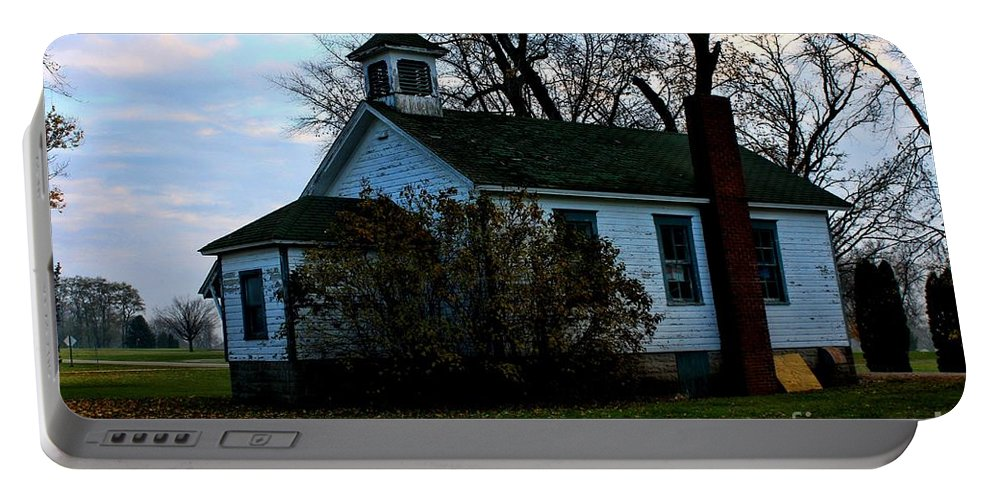 School Portable Battery Charger featuring the photograph Abandoned School House by Tommy Anderson