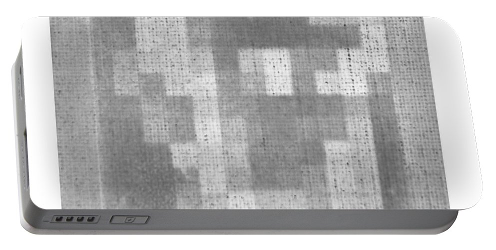 Black And White Portable Battery Charger featuring the photograph Abe In Negative Black And Grey by Rob Hans