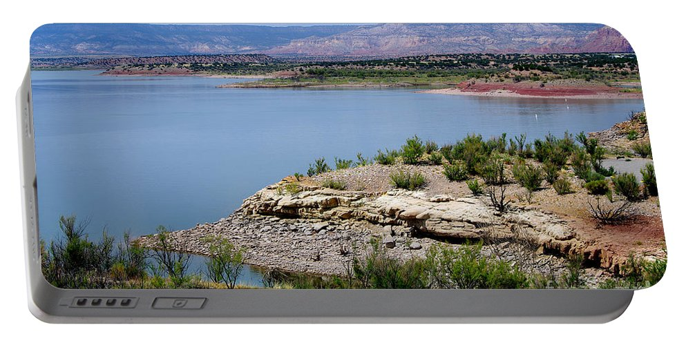 Photograph Portable Battery Charger featuring the photograph Abiquiu Lake New Mexico by Vicki Pelham