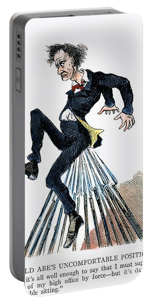 1860 Portable Battery Charger featuring the photograph Abraham Lincoln: Cartoon by Granger