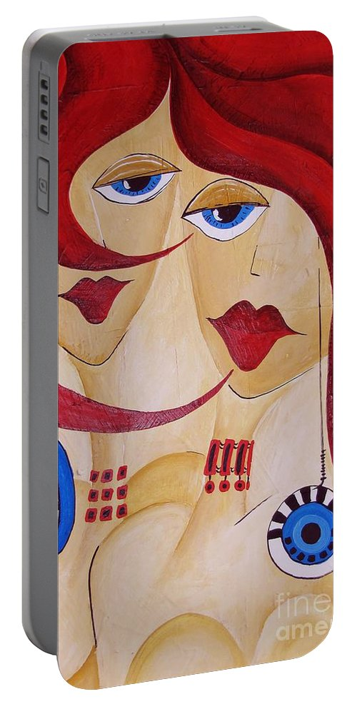 Graphics Portable Battery Charger featuring the painting Abs 0458 by Marek Lutek