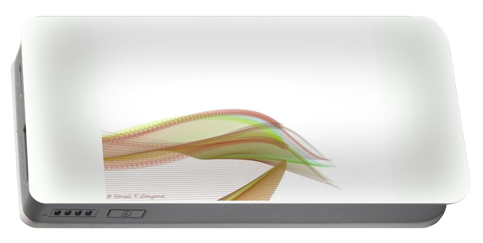 Shades In A Bud Portable Battery Charger featuring the digital art Abstract Bud by Sonali Gangane