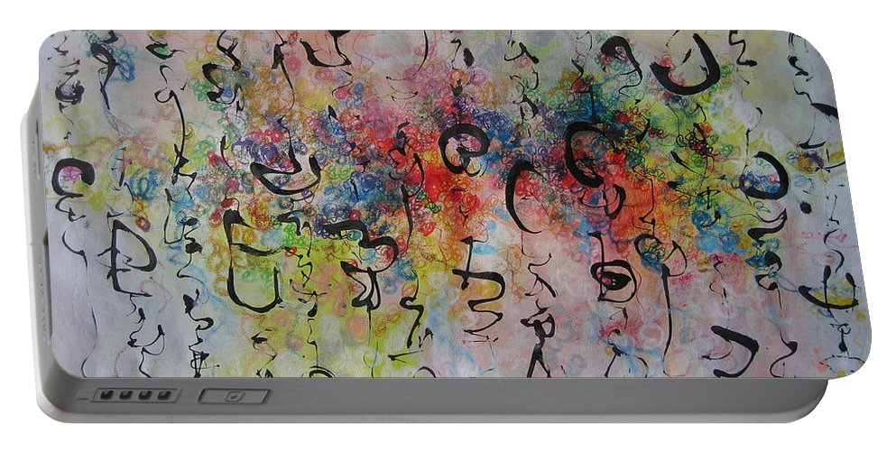 Calligraphy Art Painting Portable Battery Charger featuring the painting Abstract Calligraphy115 by Seon-Jeong Kim