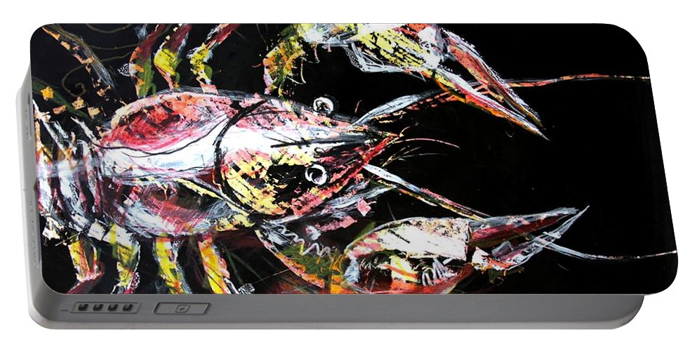 Crawdad Portable Battery Charger featuring the painting Abstract Crawfish by J Vincent Scarpace