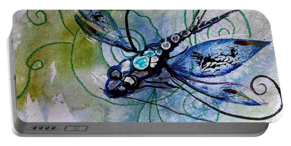 Dragonfly Portable Battery Charger featuring the painting Abstract Dragonfly 10 by J Vincent Scarpace