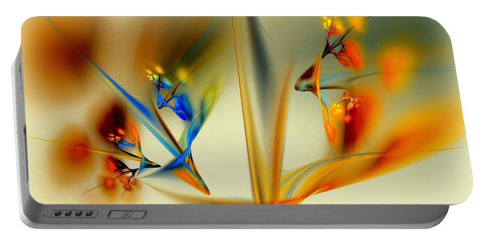 Flower Portable Battery Charger featuring the digital art Abstract Flower 2 by Klara Acel