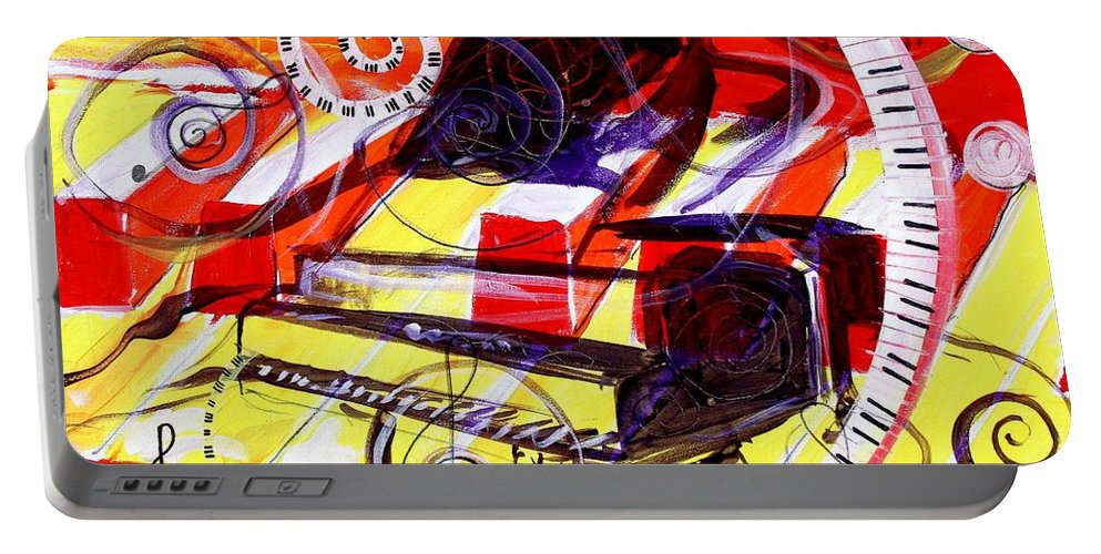 Piano Portable Battery Charger featuring the painting Abstract Jazzy Piano by J Vincent Scarpace