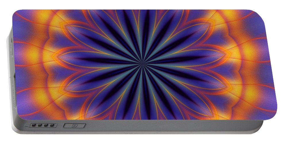 Abstract Portable Battery Charger featuring the digital art Abstract Kaleidoscope by David Lane