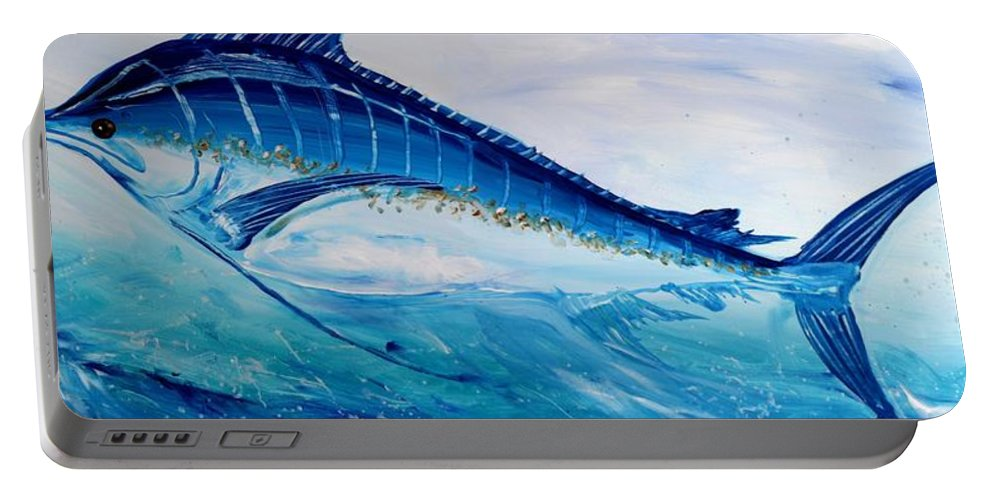 Fish Portable Battery Charger featuring the painting Abstract Marlin by J Vincent Scarpace