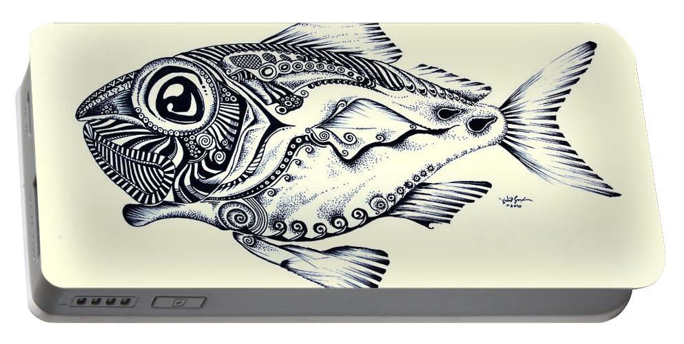 Red Fish Portable Battery Charger featuring the painting Abstract Redfish by J Vincent Scarpace