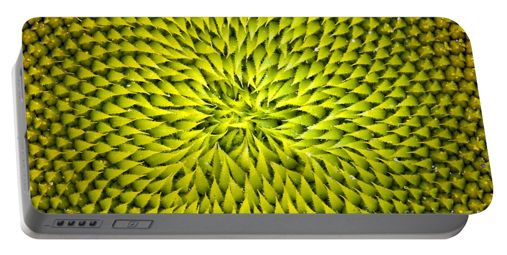 Sunflower Portable Battery Charger featuring the photograph Abstract Sunflower Pattern by Benanne Stiens