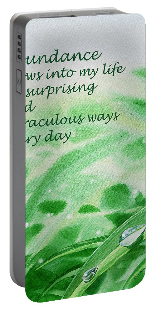 Affirmation Portable Battery Charger featuring the painting Abundance Affirmation by Irina Sztukowski