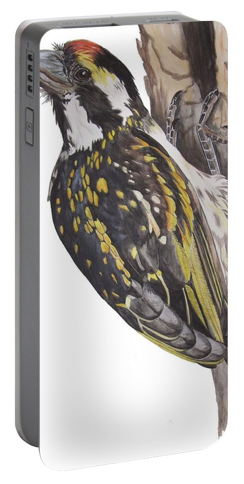 Birds Portable Battery Charger featuring the tapestry - textile Acacia Pied Barbet by Tracey Beer