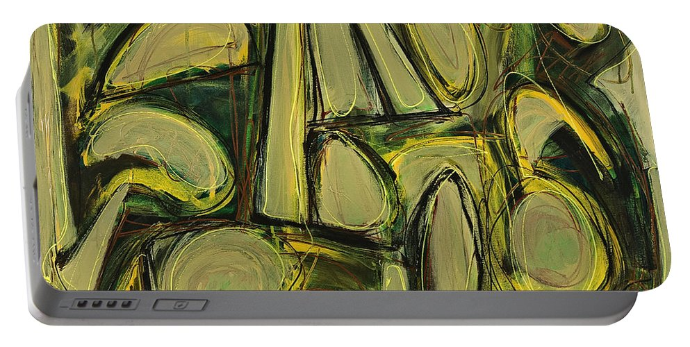 Abstract Painting Portable Battery Charger featuring the painting Accentuate The Positive by Lynne Taetzsch