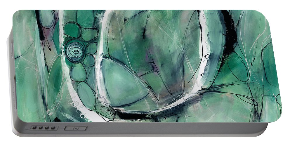 Abstract Painting Portable Battery Charger featuring the painting Adam Three by Lynne Taetzsch