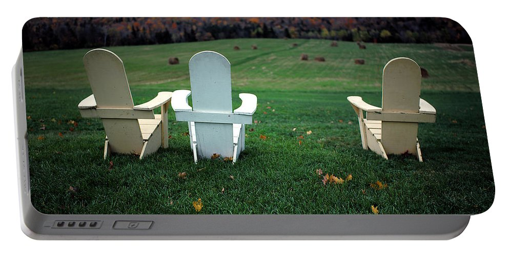 Adirondack Portable Battery Charger featuring the photograph Adirondack Chairs by Mike Nellums