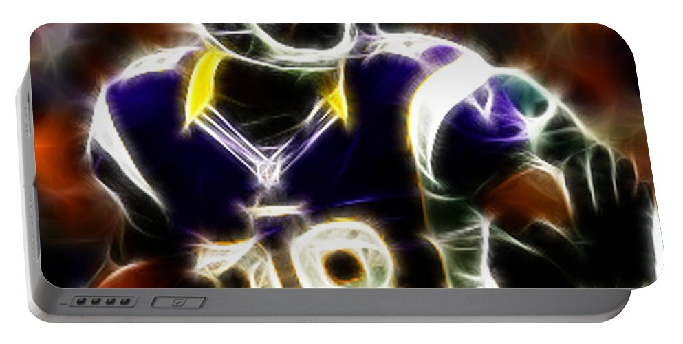 Adrian Peterson 28 - Football - Fantasy Portable Battery Charger featuring the photograph Adrian Peterson 02 - Football - Fantasy by Paul Ward