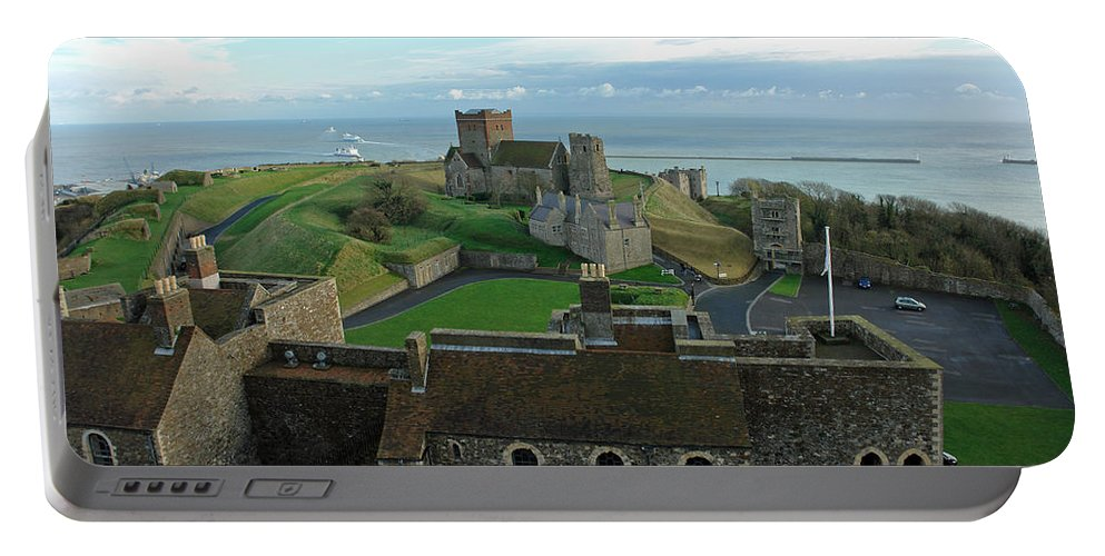 English Channel Portable Battery Charger featuring the photograph Aerial View Of Dover Castle by Ashish Agarwal