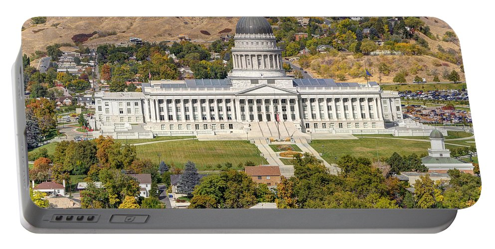 Salt Portable Battery Charger featuring the photograph Aerial View Of Utah State Capitol Building by Gary Whitton