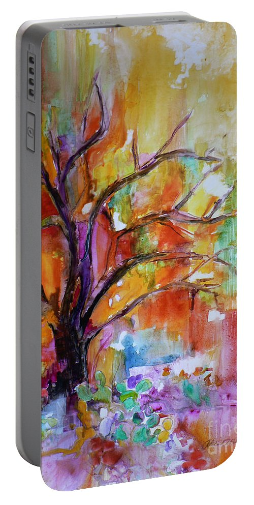 Mesquite Portable Battery Charger featuring the painting After The Rain by Catalina Rankin