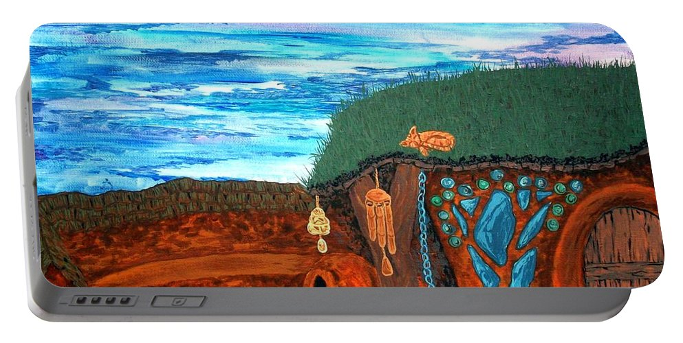 Chicken Portable Battery Charger featuring the painting Afternoon Cob by Faeriebluemoon Creations Tressure Hardcastle