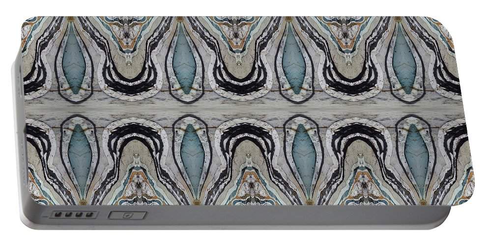 Agates Portable Battery Charger featuring the painting Agate-38e Border Tiled by Sue Duda
