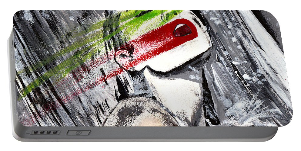 Angelina Jolie Portable Battery Charger featuring the painting AJ2 by Karen Elzinga