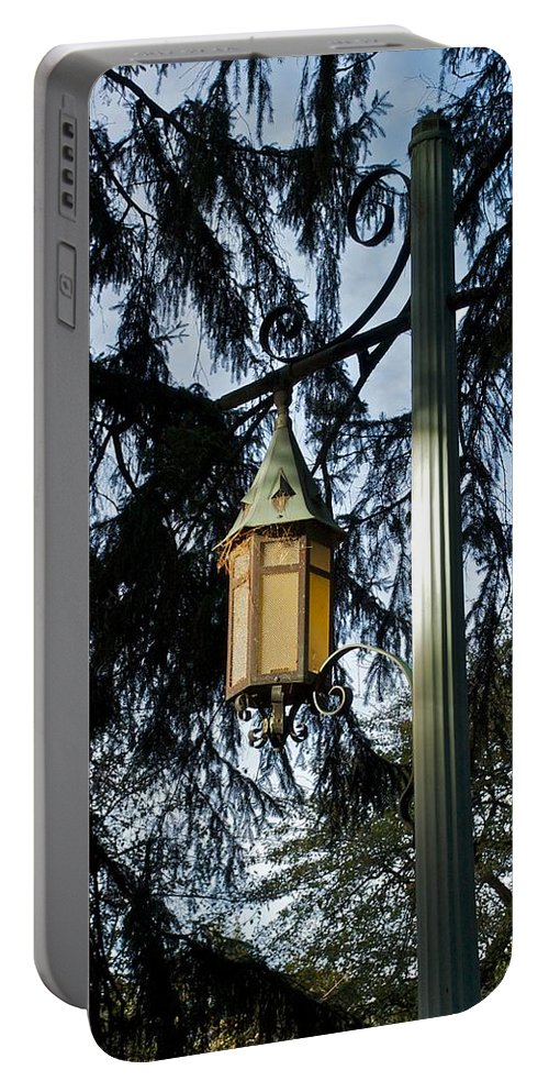 Sidewalk Lights Portable Battery Charger featuring the photograph Akers Night by Joseph Yarbrough