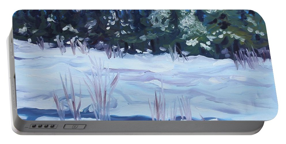Snow Portable Battery Charger featuring the painting Alaska Day by Sheila Wedegis