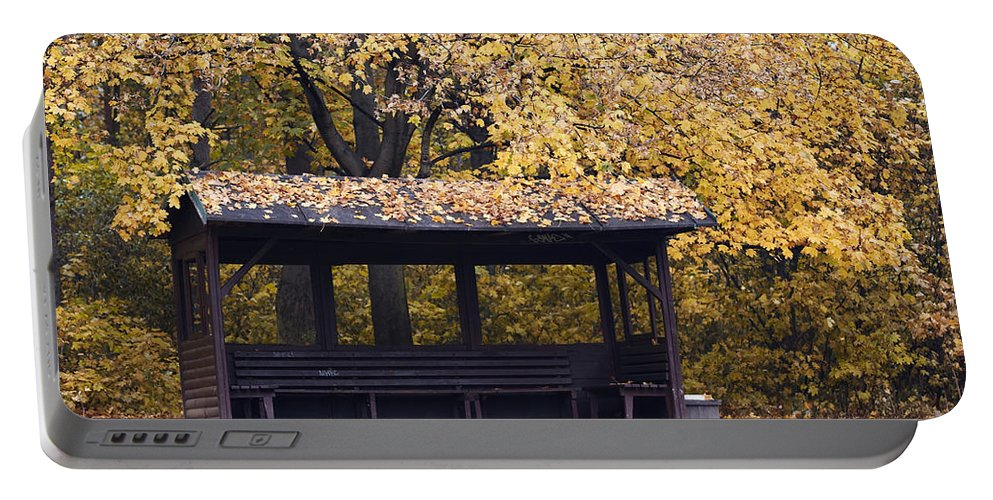Autumn Portable Battery Charger featuring the photograph Alcove In The Autumn Park by Michal Boubin