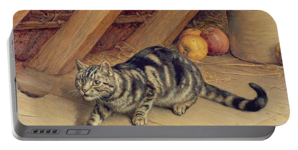 Cat; Apples; Loft Portable Battery Charger featuring the painting Alert by Frank Paton