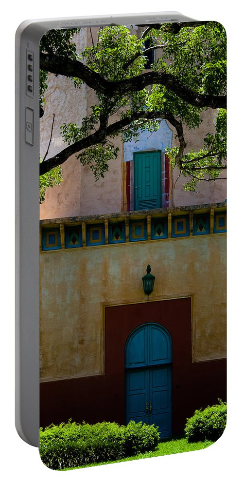 Alhambra Water Tower Portable Battery Charger featuring the photograph Alhambra Water Tower Doors by Ed Gleichman