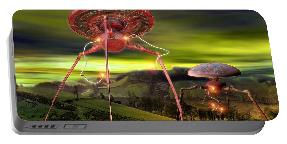 1800s Portable Battery Charger featuring the digital art Alien Invasion by Victor Habbick Visions and Photo Researchers