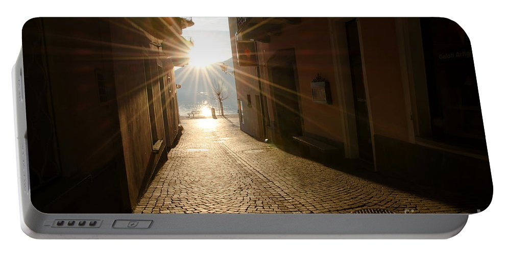 Alley Portable Battery Charger featuring the photograph Alley In Backlight by Mats Silvan